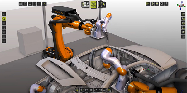 FASTSUITE Simulation of iiwa Kuka Robots while finish sealants on car body