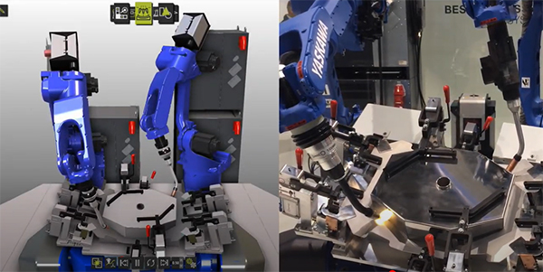 Cooperative YASKAWA robots programmed for arc welding with FASTSUITE E2
